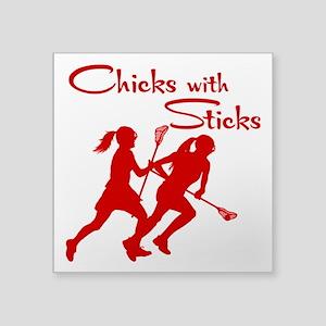 """CHICKS WITH STICKS Square Sticker 3"""" x 3"""""""