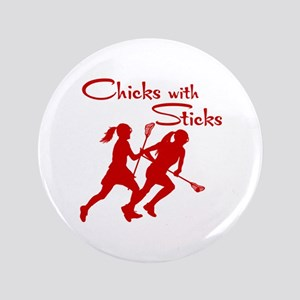 CHICKS WITH STICKS Button