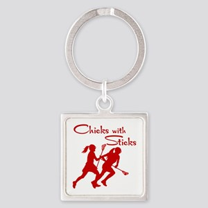 CHICKS WITH STICKS Square Keychain