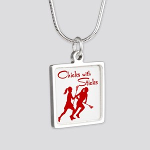 CHICKS WITH STICKS Silver Square Necklace