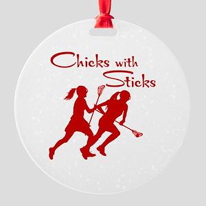 CHICKS WITH STICKS Round Ornament