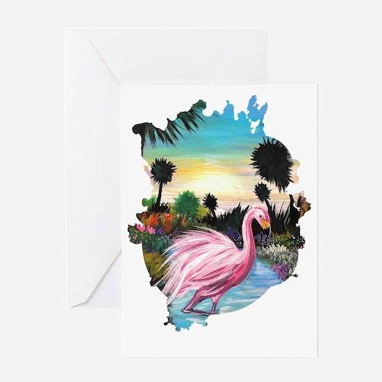 Cute Outdoor flamingo Greeting Card