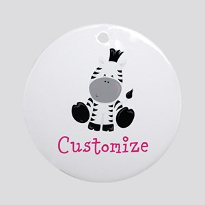 Custom Baby Zebra Round Ornament