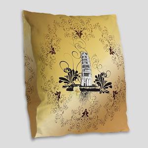 Tower of Pisa Burlap Throw Pillow