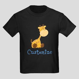 Custom Baby Giraffe Kids Dark T-Shirt