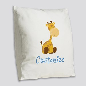Custom Baby Giraffe Burlap Throw Pillow