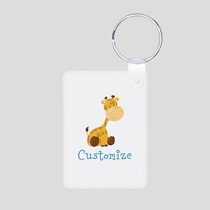 Custom Baby Giraffe Aluminum Photo Keychain