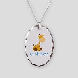 Custom Baby Giraffe Necklace Oval Charm