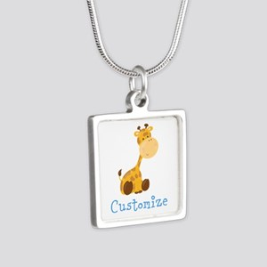 Custom Baby Giraffe Silver Square Necklace