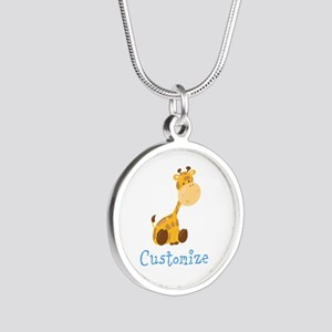Custom Baby Giraffe Silver Round Necklace