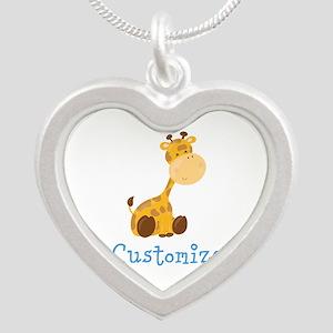 Custom Baby Giraffe Silver Heart Necklace