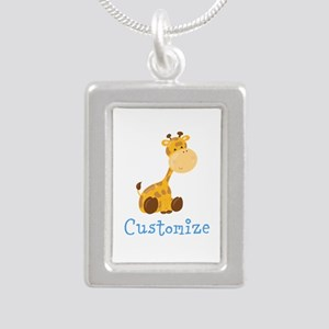 Custom Baby Giraffe Silver Portrait Necklace