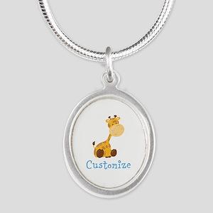 Custom Baby Giraffe Silver Oval Necklace