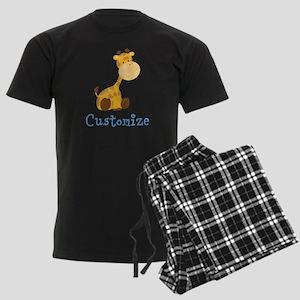 Custom Baby Giraffe Men's Dark Pajamas