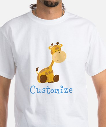 Custom Baby Giraffe White T-Shirt