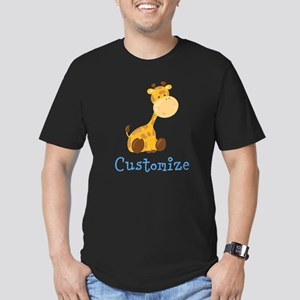 Custom Baby Giraffe Men's Fitted T-Shirt (dark)