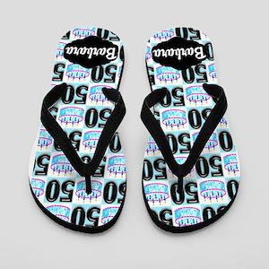 Festive Blue 50th Flip Flops