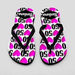 50th Pink Heart Flip Flops