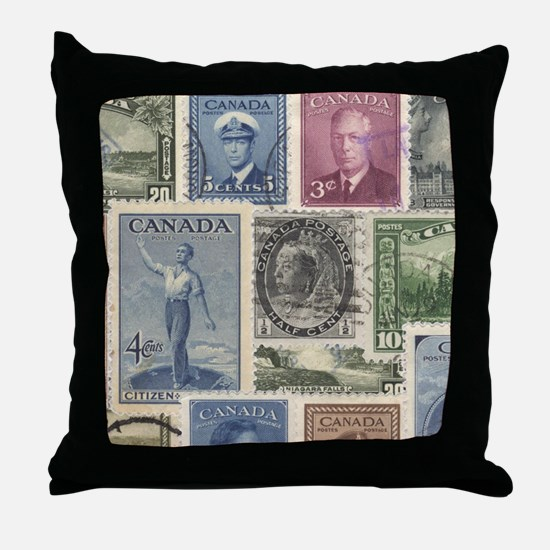 Old Canadian Stamps Throw Pillow