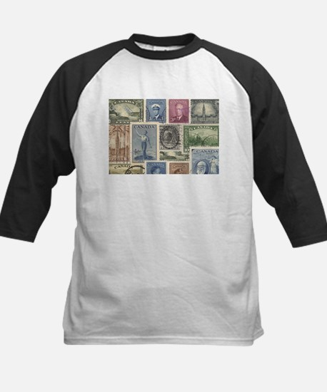 Old Canadian Stamps Baseball Jersey