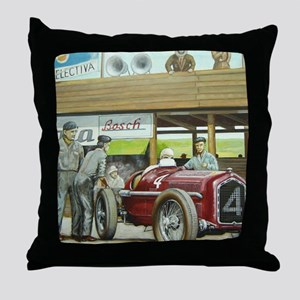 Vintage Car Racing Throw Pillow