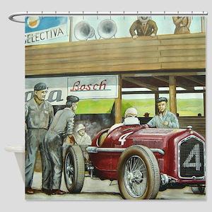 Vintage Car Racing Shower Curtain