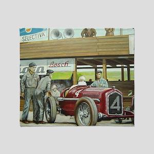 Vintage Car Racing Throw Blanket