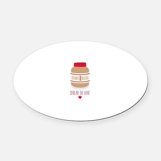 Peanut Butter Love Oval Car Magnet