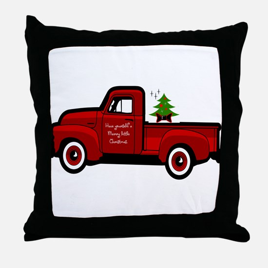 Red Christmas Truck Throw Pillow