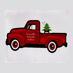 Red Christmas Truck Throw Blanket