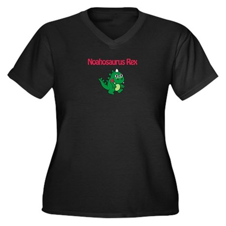 Noahosaurus Rex Women's Plus Size V-Neck Dark T-Sh