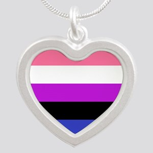 Genderfluid Pride Flag Silver Heart Necklace