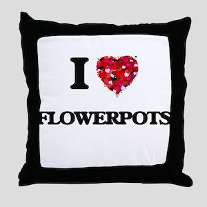 I love Flowerpots Throw Pillow