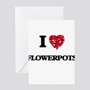 I love Flowerpots Greeting Cards