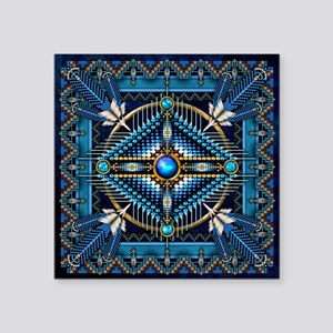 """Native American Style Tapes Square Sticker 3"""" x 3"""""""