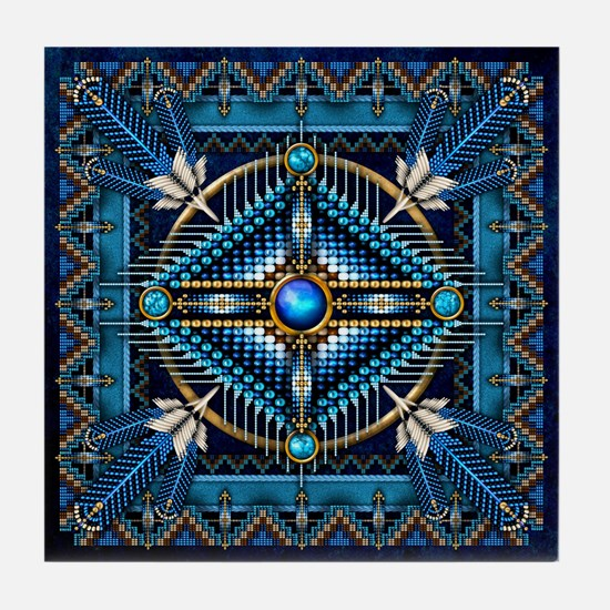 Native American Style Tapestry 3 Tile Coaster