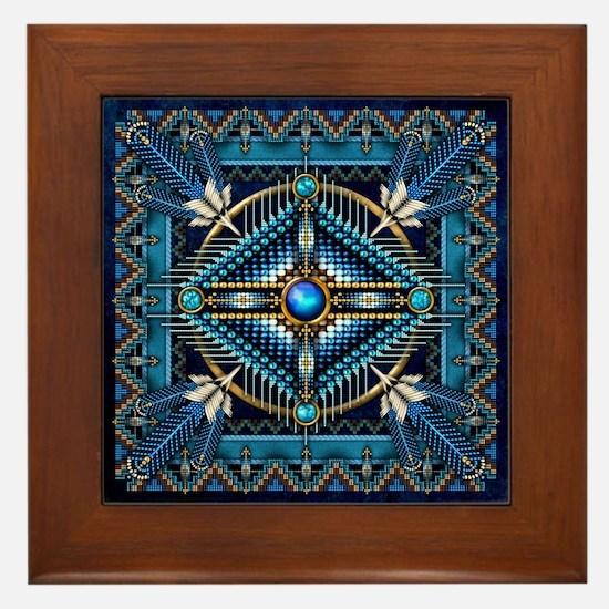 Native American Style Tapestry 3 Framed Tile