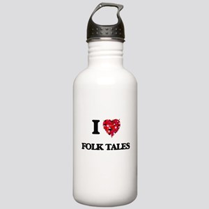 I love Folk Tales Stainless Water Bottle 1.0L