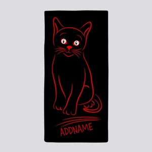 Red Black Hand Drawn Cat Personalized Beach Towel