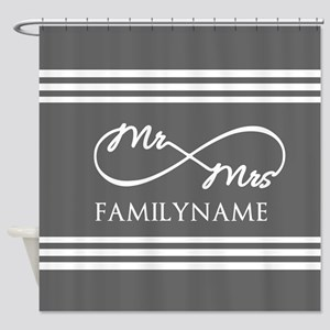 Mr. Mrs. Infinity Gray Stripes Per Shower Curtain