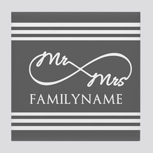 Mr. Mrs. Infinity Gray Stripes Perso Tile Coaster