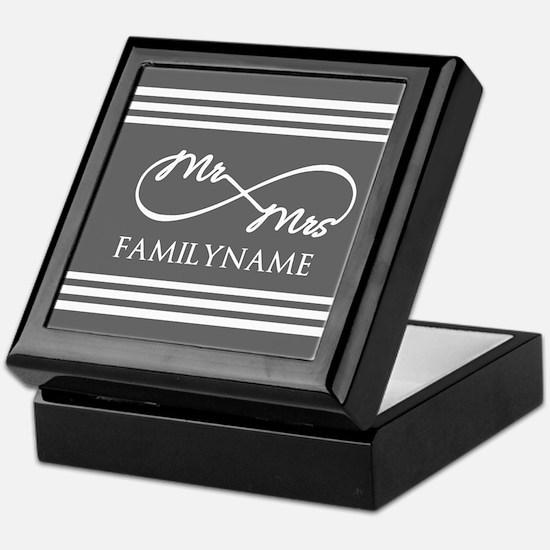 Mr. Mrs. Infinity Gray Stripes Perso Keepsake Box