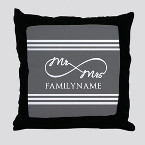 Mr. Mrs. Infinity Gray Stripes Perso Throw Pillow