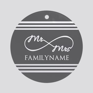 Mr. Mrs. Infinity Gray Stripes P Ornament (Round)