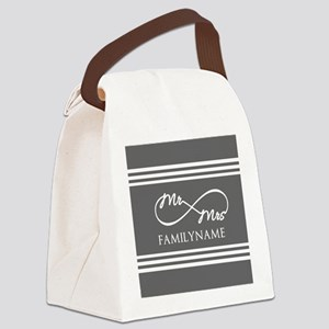 Mr. Mrs. Infinity Gray Stripes P Canvas Lunch Bag