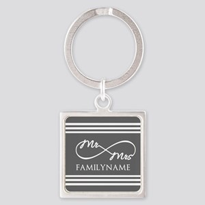 Mr. Mrs. Infinity Gray Stripes Pe Square Keychain
