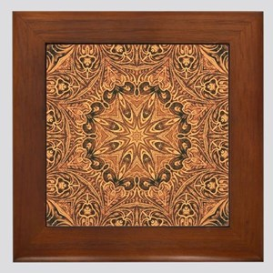 tooled leather western country  Framed Tile
