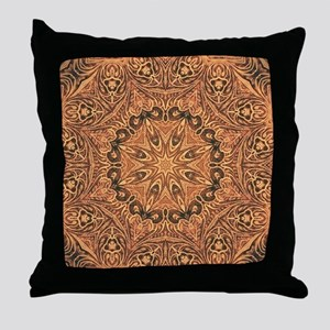 tooled leather western country  Throw Pillow