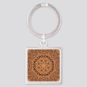 tooled leather western country  Square Keychain