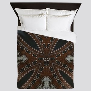 tooled leather western country  Queen Duvet